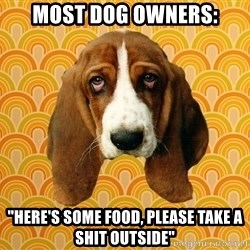 "SAD DOG - Most Dog Owners: ""Here's some food, please take a shit outside"""