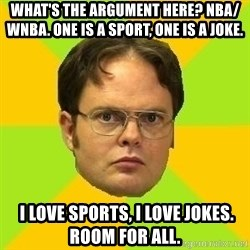 Courage Dwight - What's the argument here? NBA/ WNBA. One is a sport, one is a joke.  I LOVE SPORTS, I LOVE JOKES. ROOM FOR ALL.