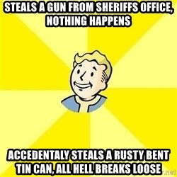 Fallout 3 - steals a gun from sheriffs office, nothing happens accedentaly steals a rusty bent tin can, all hell breaks loose