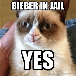 Happy Grumpy Cat 2 - bieber in jail yes