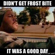 It was a good day - Didn't get frost bite  It was a good day