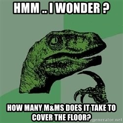Philosoraptor - Hmm .. i wonder ? How many M&Ms does it take to cover the floor?