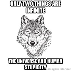Sarcastic Wolf - Only two things are infinite the universe and human stupidity