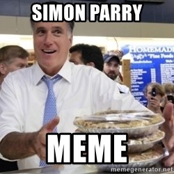 Romney with pies - SIMON PARRY meme
