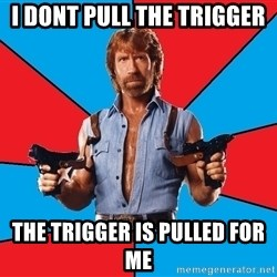 Chuck Norris  - i dont pull the trigger  the trigger is pulled for me