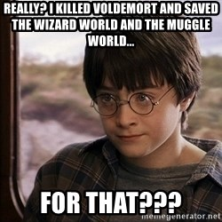 Harry Potter 2 - Really? I killed Voldemort and saved the wizard world and the Muggle world... For that???