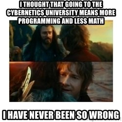 I have never been so wrong - i thought that going to the cybernetics university means more programming and less math i have never been so wrong