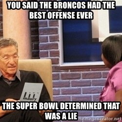 Maury Lie Detector - You said the broncos had the best offense ever the super bowl determined that was a lie