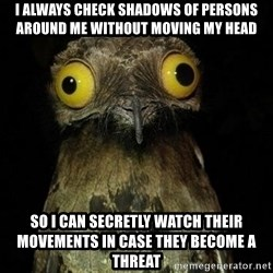 Weird Stuff I Do Potoo - I always check shadows of persons around me without moving my head so I can secretly watch their movements in case they become a threat