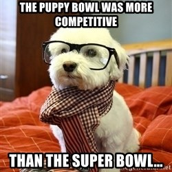 hipster dog - the puppy bowl was more competitive than the super bowl...