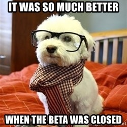 hipster dog - It was so much better  when the beta was closed