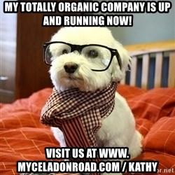 hipster dog - my totally organic company is up and running now!  visit us at www. myceladonroad.com / kathy
