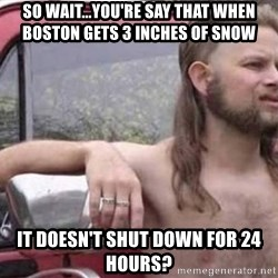 White Trash Hillbilly - So Wait...you're say that when Boston gets 3 inches of snow It doesn't shut down for 24 hours?
