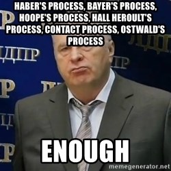 Zhirinovsky's enough to endure - haber's process, bayer's process, hoope's process, hall heroult's process, contact process, ostwald's process enough