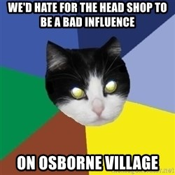 Winnipeg Cat - we'd hate for the head shop to be a bad influence on osborne village