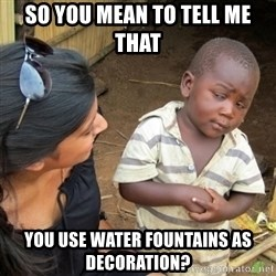 Skeptical 3rd World Kid - So you mean to tell me that  You use water fountains as decoration?