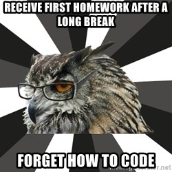 ITCS Owl - Receive first homework after a long break forget how to code