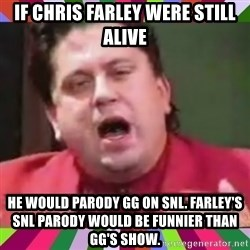 Gorgeous George - if chris farley were still alive he would parody gg on snl. farley's snl parody would be funnier than gg's show.