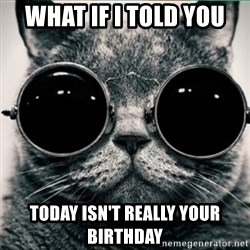 Morpheus Cat - What if I told you today isn't really your birthday