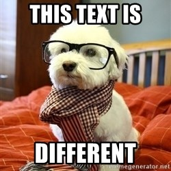 hipster dog - this text is different