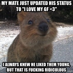 """Seemingly Innocent Quokka - My mate just updated his status to """"I love my GF <3"""" I always knew he liked them young, but that is fucking ridiculous"""