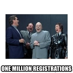 Dr. Evil Laughing -  One million registrations