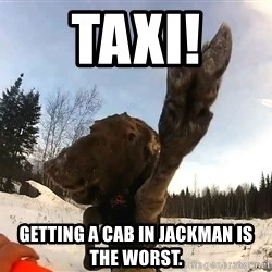 Peace Out Moose - Taxi! Getting a cab in Jackman is the worst.