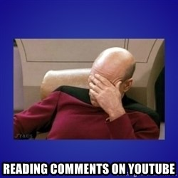 Picard facepalm  -  reading comments on youtube