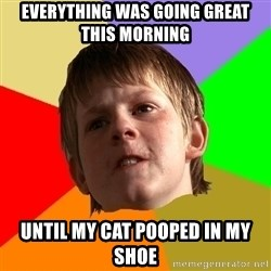 Angry School Boy - everything was going great this morning until my cat pooped in my shoe