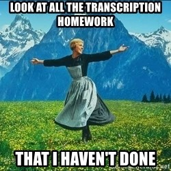 Look at all the things - LOOK AT ALL THE TRANSCRIPTION HOMEWORK THAT I HAVEN'T DONE