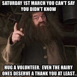 Hagrid - Saturday 1st March You can't say you didn't know hug a volunteer.  Even the hairy ones deserve a thank you at least