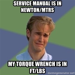 Sad Face Guy - Service manual is in Newton/Mtrs My Torque Wrench is in Ft/Lbs