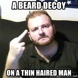 Angry Drunken Comedian - a beard decoy on a thin haired man