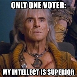 The REAL Khan - only one voter: my intellect is superior
