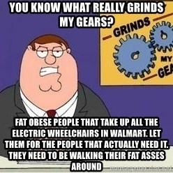 Grinds My Gears Peter Griffin - you know what really grinds my gears? fat obese people that take up all the electric wheelchairs in walmart. Let them for the people that actually need it. They need to be walking their fat asses around