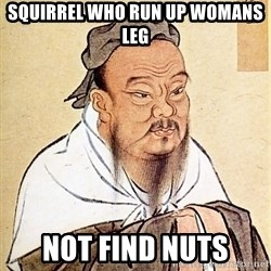 Confucious - squirrel who run up womans leg not find nuts