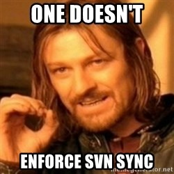 ODN - ONE DOESn't Enforce svn sync