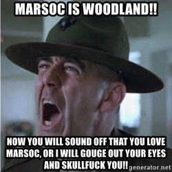 Gunnery Sgt. Hartman - MARSOC is Woodland!! Now you will sound off that you love MARSOC, Or I Will Gouge out your eyes and Skullfuck you!!