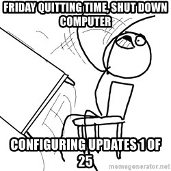 Desk Flip Rage Guy - Friday quitting time, shut down computer Configuring updates 1 of 25