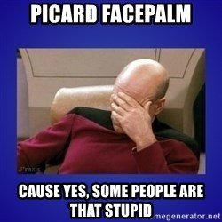 Picard facepalm  - Picard Facepalm Cause yes, some people are that stupid