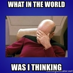 Picard facepalm  - What in the world Was i thinking