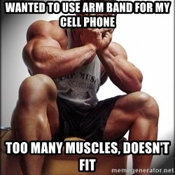 Fit Guy Problems - WANTED TO USE ARM BAND FOR MY CELL PHONE TOO MANY MUSCLES, DOESN'T FIT