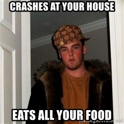 Scumbag Steve - Crashes at your house eats all your food