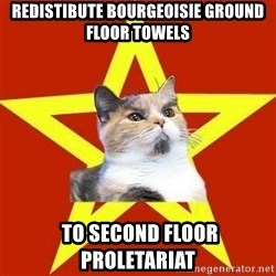 Lenin Cat Red - REDISTIBUTe Bourgeoisie ground floor towels  to second floor Proletariat