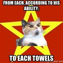 Lenin Cat Red - From each, according to his ability; To each towels