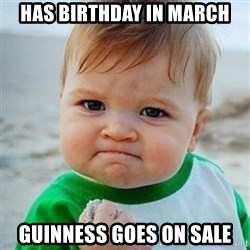 Victory Baby - has birthday in march Guinness goes on Sale