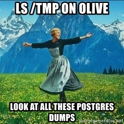 Look at all the things - ls /tmp on olive Look at all these postgres dumps