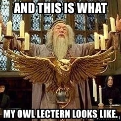 Dumbledore Feast - And this is what  my owl lectern looks like.