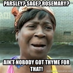 Ain't Nobody got time fo that - parsley? sage? rosemary? ain't nobody got thyme for that!