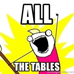 X ALL THE THINGS - all the tables